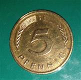 Kovanica od 5 feniga, BRD, (1981), F+