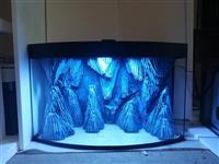 Akvarijum sa ovalnim staklom i 3D pozadinom - Crni