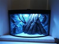 Ugaoni akvarijum, sa ovalnim prednjim staklom i 3D