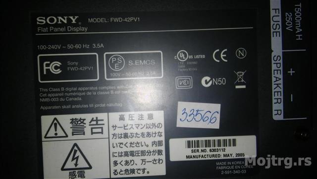 da893e3a2 MojTrg.rs - Oglas Sony plazma 42