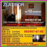 Z L A T I B O R,studio apartman od 12 evra/noc