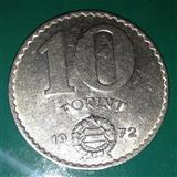 Kovanica od 10 forinti, 1972, VF+