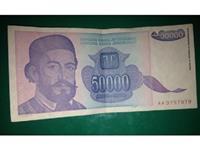 Papirna novčanica od 50.000 dinara, 1993, UNC
