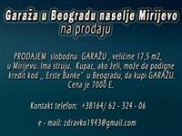 Garaža u Beogradu naselje Mirijevo na prodaju