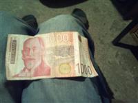 1000 dinara iz 2001 godine stanje